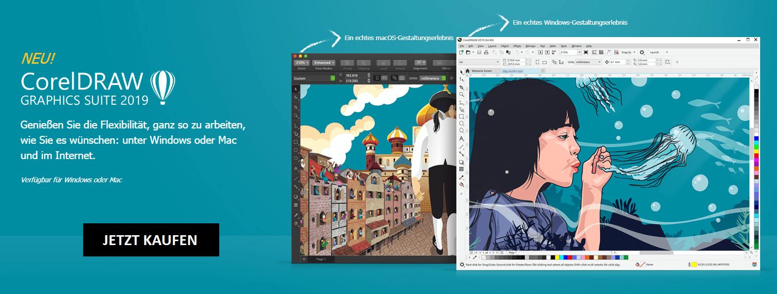 CorelDRAW Graphics Suite 2019 für Mac oder Windows